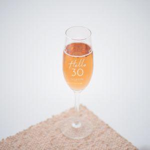 Champagneglas graveren hello 30