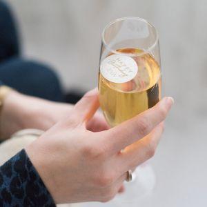 Champagnemuntje met stipjes en naam
