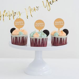 Cupcake prikkers happy new year