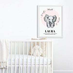 Geboorteposter Sophie de Ruiter illustratie roze