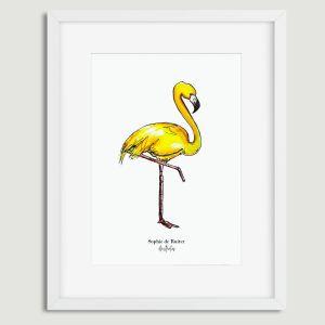 Aquarel poster gele flamingo illustratie Sophie de Ruiter