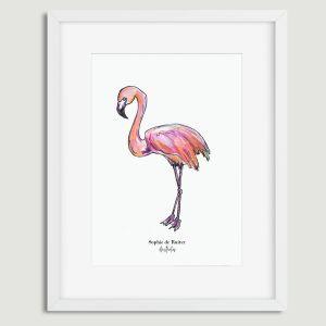 Aquarel poster roze flamingo illustratie Sophie de Ruiter
