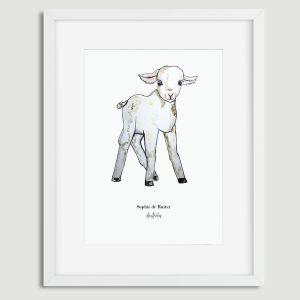 Aquarel poster mevrouw schaap illustratie Sophie de Ruiter