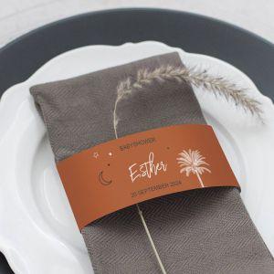 Servetring babyshower palmboom roest