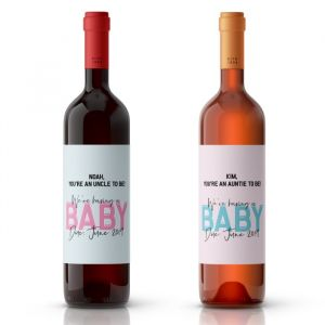 Wijnfles etiketten zwangerschapsaankondiging
