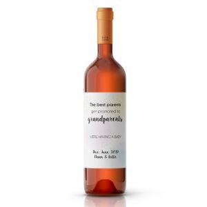 Wijnfles etiketten zwangerschapsaankondiging pastel glitter
