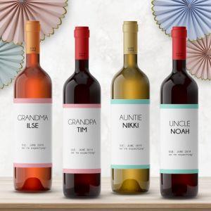 Wijnfles etiketten zwangerschapsaankondiging modern