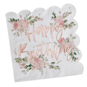 Servetten Happy Birthday Ditsy Floral (16 st) Ginger Ray