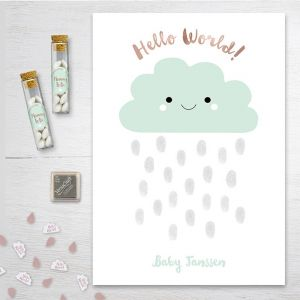 Hello world vingerafdruk gastenboek babyshower