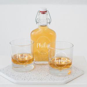 Whisky beugelfles hip met naam