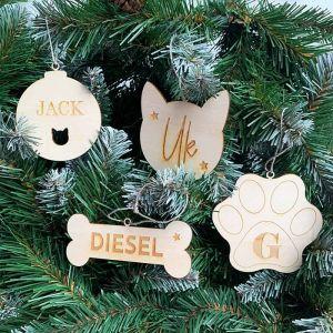 Gepersonaliseerde kersthanger huisdier botje met naam