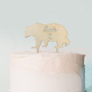 Let's Explore taarttopper beer met naam hout