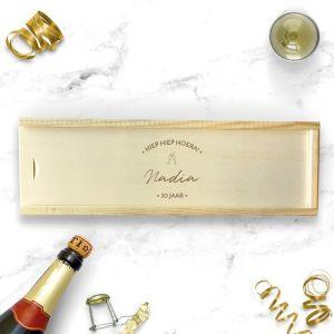 Gepersonaliseerde houten wijnkist verjaardag