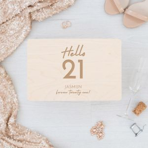 Houten memorybox verjaardag hello 21