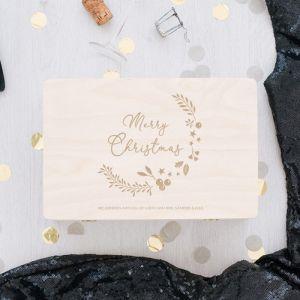 Houten kerstbox Merry Christmas kerstkrans