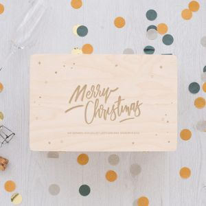 Houten kerstbox Merry Christmas stars