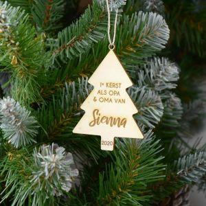 Gepersonaliseerde kersthanger eerste kerst als opa en oma