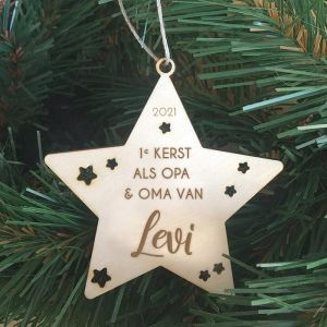 Gepersonaliseerde kerstster eerste kerst als opa en oma