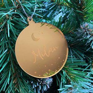 Gepersonaliseerde kersthanger met sterren en maan