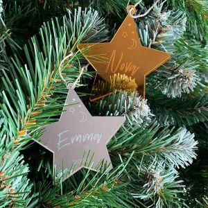 Gepersonaliseerde kersthanger ster met naam to the moon