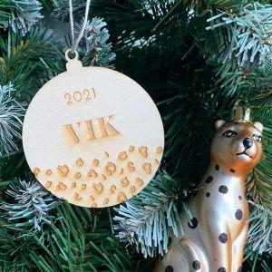 Gepersonaliseerde kersthanger met panterprint en naam