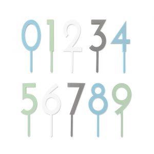 Acryl taarttoppers cijfers (0-9) set blauw (20 stuks)
