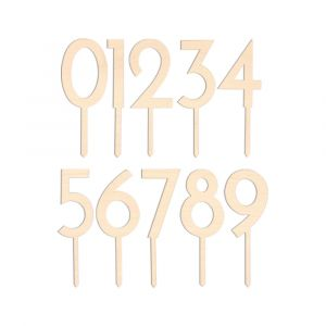 Houten cijfers (0-9) taarttoppers