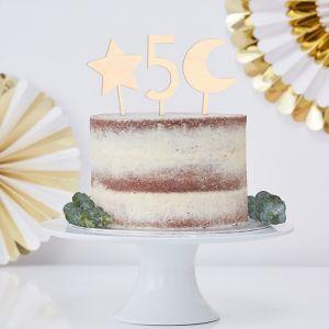 Houten taarttoppers symbolen set (10 stuks)