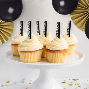 Cupcake prikkers (6st) hashtag geslaagd