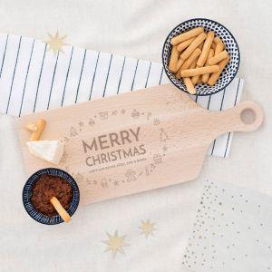 Houten serverplank kerst met kerstsymbooltjes