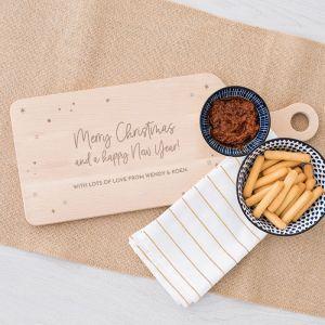 Houten serverplank kerst Merry Christmas stars