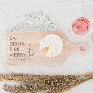 Houten serverplank kerst Eat Drink & Be Merry