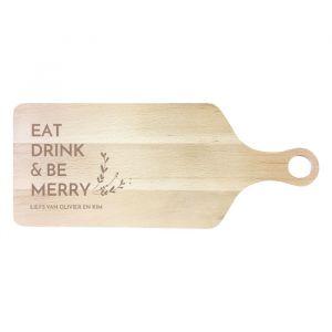 Houten serveerplank kerst Eat Drink & Be Merry