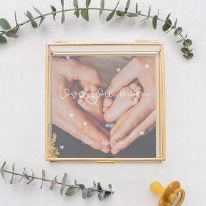 Glazen bewaardoosje goud moederdag love you mom