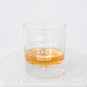 Whiskeyglas Best Daddy ever stoer met naam