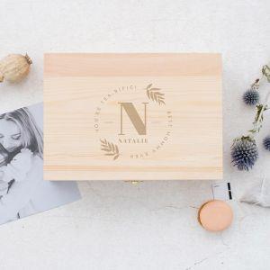 Gepersonaliseerde houten theedoos botanisch met initiaal