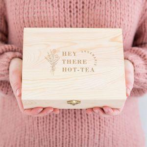 Gepersonaliseerde houten theedoos hot-tea