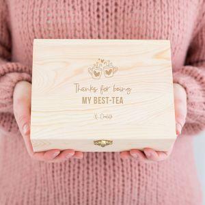 Gepersonaliseerde houten theedoos best-tea