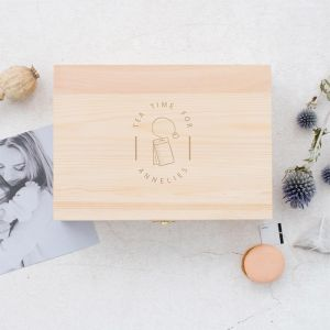 Gepersonaliseerde houten theedoos met naam