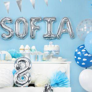 35cm folieballon letters en cijfers zilver