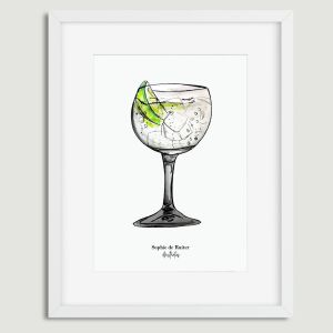 Aquarel illustratie cocktail door Sophie de Ruiter