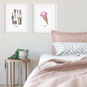 Aquarel poster ijshoorntje illustratie door Sophie de Ruiter