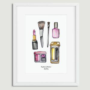 Aquarel illustratie make-up door Sophie de Ruiter