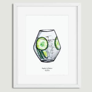 Aquarel illustratie cocktail door Sophie de Ruiter