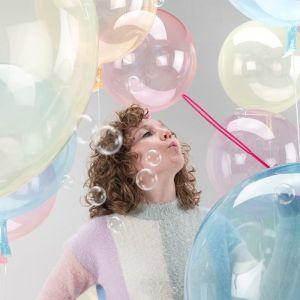 Orbz folieballon Clearz Crystal blauw (40cm)