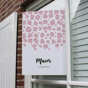 Geboortebord panterprint roze