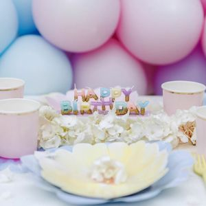 Taartkaarsjes Happy Birthday pastel met goud Talking Tables