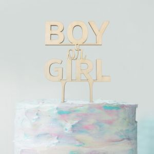 Gender reveal taarttopper boy or girl hout
