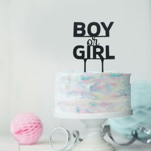 Gender reveal taarttopper boy or girl acryl