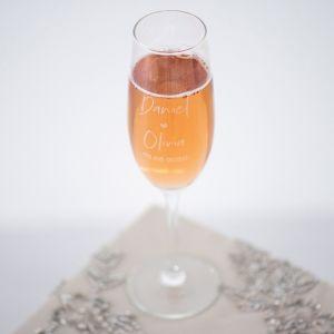 Champagneglas graveren met twee namen